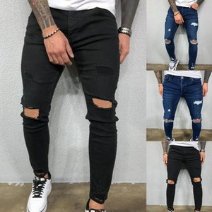 Men Cool Designer Brand Black Jeans Skinny Ripped Destroyed Stretch Slim Fit Hop Hop Pants With Holes For Mens