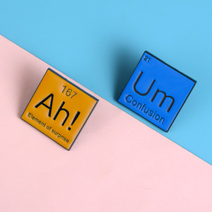 New Periodic Table Ah! Um Brooches Bag Clothes Lapel Modal Particle Badge Funny Chemistry