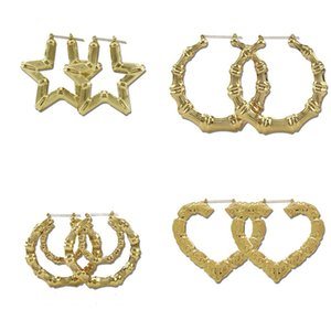 2019 2020 Fashion Jewelry Multiple Shapes Ethnic Large Vintage Gold Plated Bamboo Hoop Earrings for Women 9 Modes free choice 50 M2