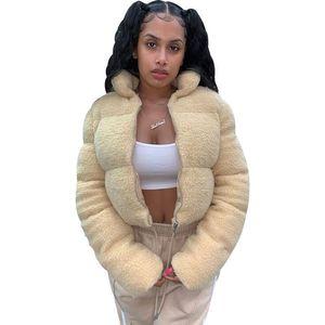 Mulheres Cordeiro Wool casacos doce cor gola Zipper inverno quente Coats senhoras Sólidos Outwear