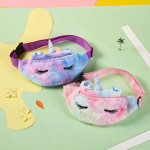 Kid Unicorn Stuffed Waist Bag Belt Fanny Pack Beach Bag Student Teenager Purses Sports With Long Eyelash Gym Outdoor Winter Cosmetic Bags
