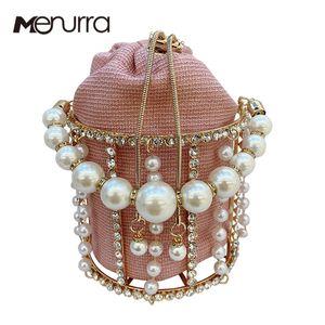 INS Pearls Metallic Cage Evening Clutch Women Hollow Out Bucket Acrylic Chain Handbag Bridal Beaded Shoulder Bag Q1113