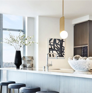 Nordic Brass bianco Glass Ball Pendant Light Modern Chandelier casa Soggiorno Cucina Lampada da soffitto Fixture