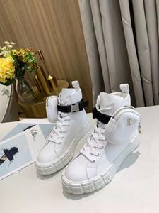 De alta qualidade sapatos casuais! homens da moda e sapatos casuais lona de couro das mulheres com solas grossas e sacos superiores altas com caixa de 35-44