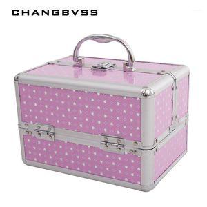 새로운 패션 3 레이어 스토리지 상자 미용 케이스 화장품, 메이크업을위한 화장품 가방, 소녀의 선물 보석 보관함, 24 * 17 * 18cm1
