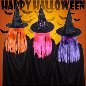 Vieruodis halloween decoração chapéu festa masquerade adereços peruca bruxa chapéu celebração fantasma festival cosplay páscoa suprimentos1