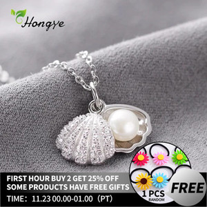 Hongye Women Real Natural Freshwater Pearl Necklace 925 Sterling Silver Pendants Shell Collar Wedding Classic Fine Jewelry 201124