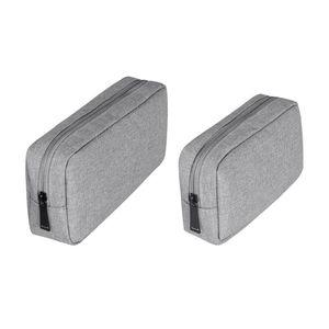 2 шт. Цифровая сумка для хранения Сумка Electronics Protection Органайзер для зарядного устройства USB-кабельные наушники (серый, большой размер + маленький размер)