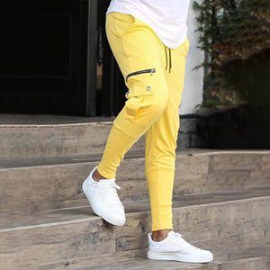 Men Side Pockets Cargo Harem Pants Hip Hop Casual Male Jogging Trousers Fashion Casual Streetwear Pants Yellow Cool