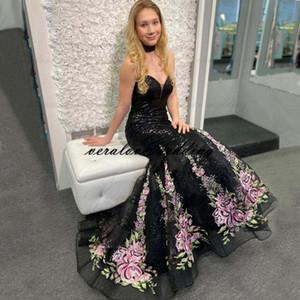 Sparkly Sequined Black Prom Dress Dress Mermaid Sweetheart ricamo stampato fiore abiti da sera sweep treno celebrità abiti da partito formale