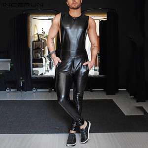 Fashion Sleeveless Jumpsuits INCERUN Fitness Mens Round Neck Rompers Leisure Faux PU Leather Zipper Overalls Sexy Party Pants 7