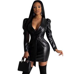 Frauen Schwarz Faux Leder Kleid V-Ausschnitt Langarm Slim Fit Anzug Kleider Famals Taille Daunen Gürtel Kleidung