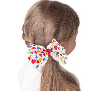 6pcs Printed Grosgrain Ribbon Bow Hair Clips Girl Love Fruit Print Ribbon Bow Hairpin Princess Barrettes Ponytail Hair Clip