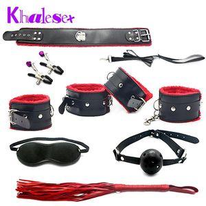 Khalesex Sexo Fetiche 7 PC / sistema Pinzas juguetes adultos para las parejas de sujeción del pezón Mujer de ojos S Bondage Slave Whip Máscara Y18110802 Khalesex Etos