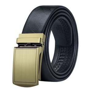 Hi-Tie New Belt 100% Good Quality Cowskin Genuine Formal Men Leather Ratchet Belt Strap Male Metal Automatic Buckle DK-0046