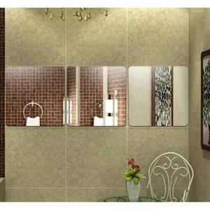 DIY Стены Декор для гостиной Ванная комната Кровать комната Квадратная Узор Креативные подарки Абстрактное искусство Зеркало наклейки 2 шт. SET1