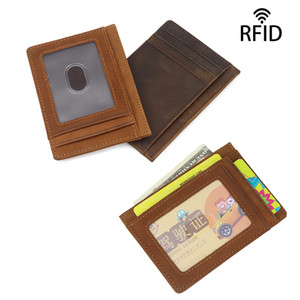 Minimalist front pocket wallet fashion new ID bank ultra thin vintage genuine leather business card holder RFID protection