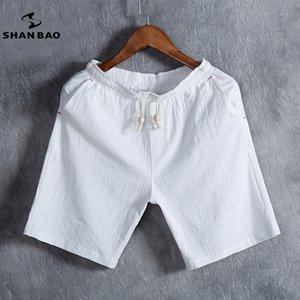 Shan Bao marka erkek yaz moda düz renk şort 100% pamuk yumuşak ve rahat ince elastik bel rahat şort M-5XL Y200901
