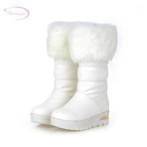 Chainingyyee sweet style caldo inverno ginocchio stivali alti moda metallo decorazione piattaforma med con aumentando boots da donna stivali da donna1