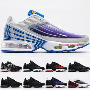 High Quality Air Cushion Plus 3 Tuned Running Shoes 2020 Mens Trainers Purple Nebula Black Track Red Big Boys Outdoor Sneakers Size 39-45