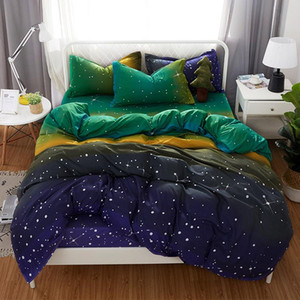 Blue yellow green Gradient color bedding set duvet cover quilt cover Starry sky Stars bed sheet pillow cases Home textiles