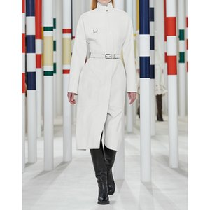 8.11 High Quality 2020 Autumn Winter Women's Runway Fashion Temperament Drop Shoulder Stand Collar With Belt Trench Coat 2 Color