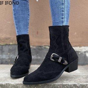 ЕСЛИ IFOND Женская мода сапоги Замша Faux зимы платформы сапоги Пряжка молнии Каблуки Удобная обувь Размер 36-43