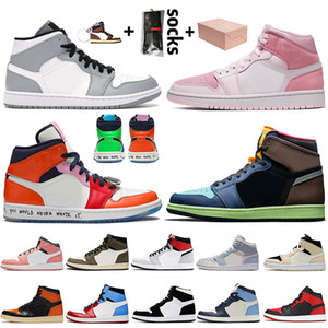 Nike Air Jordan 1 Off White Travis Scott Retro 1 1s mit Kasten Mid Hellgrau Jumpman 1 1s Basketball-Schuh-Luft Digital Rosa Fearless Hoch OG Bio Hack Frauen Mens Sneakers