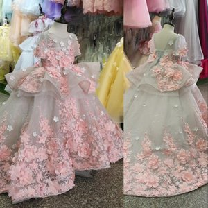 New Flower Girls Dresses Short Sleeves For Weddings Pink Lace Appliques 3D Floral Flowers Ball Gown Birthday Girl Communion Pageant Gowns