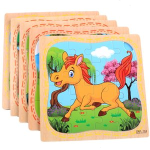 Montessori ألعاب خشبية التعليمية للأطفال التعلم المبكر 3D الكرتون لغز الأطفال ممارسة الرياضيات تطابق التعليم