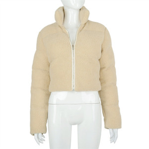 Женщины зимние пальто шерпа сплошного цвета с длинными рукавами молния кардиган стоячим воротником Теплый хлопка куртки Женщины Дизайнеры одежды продажа D111103
