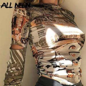 Allneon e-girl vintage impresión holloe out manga larga tops de cultivos Harajuku o-cuello ruchado delgado camisetas otoño streetwear y2k camisetas
