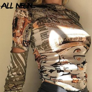 Allneon E-Girl Винтажная печать HOLLOE OUT Длинные рукава Урожайные вершины Harajuku O-Hee Ruched Slim T-рубашки Осенняя улица Y2K Tees