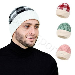 Adult Beanie 8 Colors Winter Warm Man Woman Knitted Caps Outdoor Sports Plaid Wool Hats CYZ2862