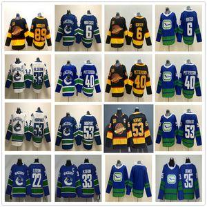 2021 Reverse Retro Vancouver Canucks Hockey-Trikots 53 BO Horvat 35 Thatcher Demko 6 Brock Boeser 40 Elias Pettersson Pavel-Bure Mogilny