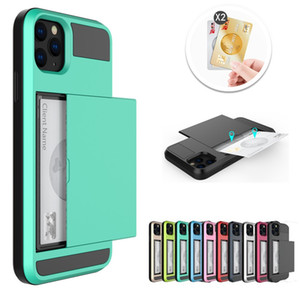 iPhone 12 11 Pro XS XR Pro Pro Max 7 8 Plus TPU + PC 슬라이드 카드 Armor Shell Case for iPhone 용 월렛 케이스
