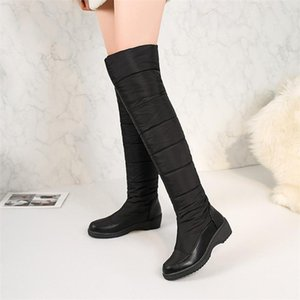 2020 Korean Style Snow Boots Women Wedge Round Toes Thick Warm Women Boots Fashion Knee-high Winter Shoes VT448