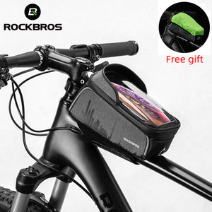 Rockbros Touch Screen Impermeabile Bicycle Frame Bag Cycling Top Tube Borse Portabicchiere anteriore Supporto per telefono Accessori
