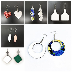 sublimation blank Earrings Double-sided Sublimation Earring Leaves Shape Eardrop With DIY Earring Gift Party Favor 18 Styles