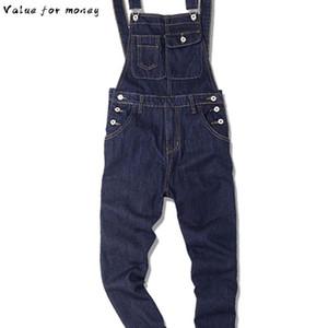blue dark Men's denim bib overalls Slim fit jeans Casual pocket cargo pants Suspenders jumpsuits