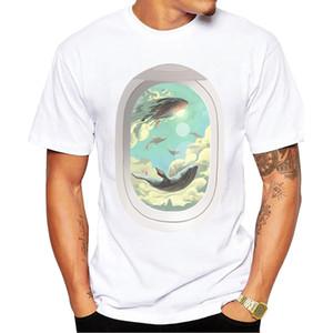Teehub 최신 소식통 플라잉 고래 패션 고래 인쇄 짧은 소매 캐주얼 재미 스포츠 후드 운동복 후드 T 셔츠