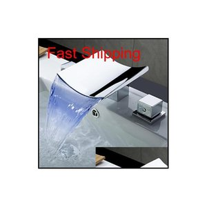 Commercio all'ingrosso- superfaucet rubinetto bagno rubinetto, rubinetto a cascata a LED, rubinetto della lavandino cascata, rubinetto dell'acqua LED temperatura Jllbca BDEBAG