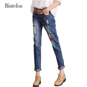 2020 Biutefou Brand New Women Bordado Calças De Jeans Moda Oco Out Hold Calças De Denim Hole Plus Size Lápis Pants1