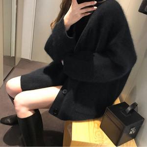 Black Nerz Velvet Frauen 2020 Neue Lose Faule Stil Außenverschleiß Frühling und Herbst Strickjacke Strickjacke Pullover