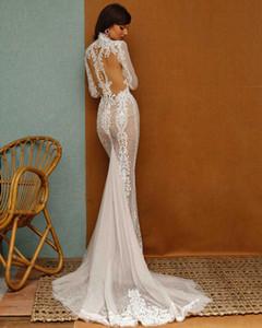 Berta Mermaid Wedding Dresses Lace Appliqued Deep V Neck Long Sleeve Wedding Dress Sweep Train Custom Made Plus Size Wedding Gown