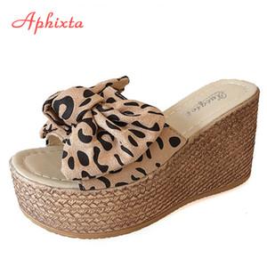 Aphixta Leopard vaca gamuza arco 9 cm tacones de cuña Slidess Mujeres Plataforma deslizador de las mujeres Mulers femeninos zapatos sandalias Clog Mujeres X1020