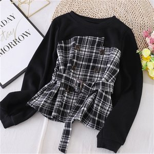 2021 New New Korean style contrast color stitching woolen plaid shirt women's tie waist long-sleeved sweater trend TJZZ