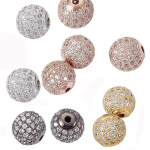 10pcs 6 8 10 12mm Round Brass Micro Pave Cubic Zirconia Charm Metal Rhinestone Bead for Jewelry Making DIY Bracelet Disco Ball Q1106