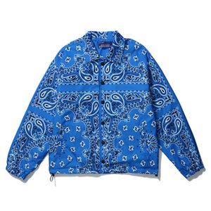 HipHop Fashion Mens Button Up Bandana Work Jackets Paisley Vintage Bomber Coats