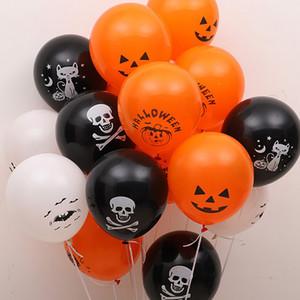 12pcs Halloween Black Orange Latex Balloon Pumpkin Skeleton Halloween Party Decoration Helium Balloons Kids Toys Bar Party Decor